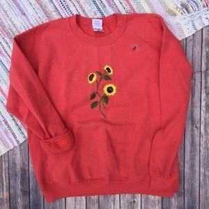 VTG Sunflower Bee Coral Sweatshirt